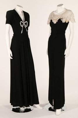 Black and white evening wear, 1940s, comprising a black