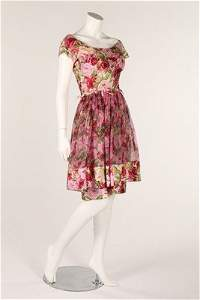A group of 1950s summerwear, comprising pink floral