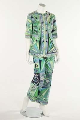 An Emilio Pucci printed cotton top and pants, late
