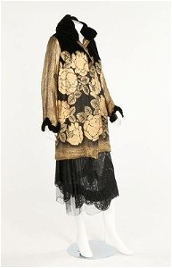 An Ira black and gold lamé evening coat, late 1920s,