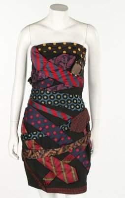 A Moschino cocktail dress adorned with men's ties,