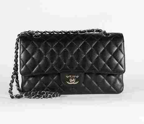 A Chanel black caviar leather double flap bag, 2008,