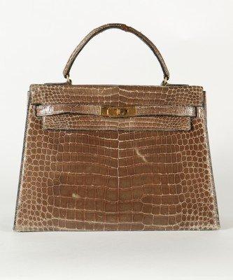 An Hermès grey crocodile Kelly bag, circa 1965,