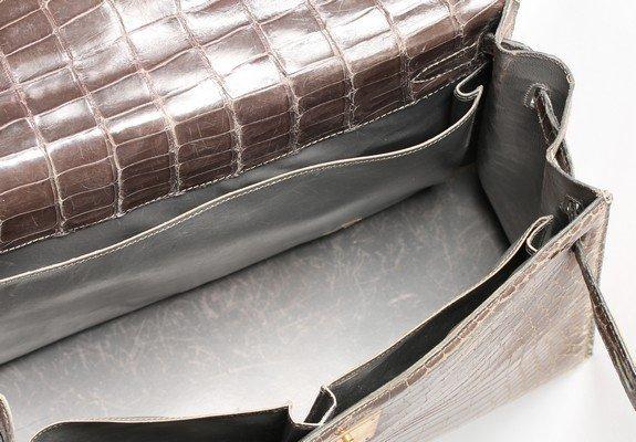 An Hermès grey crocodile Kelly bag, circa 1965, - 7