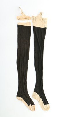 Two pairs of Queen Victoria's black silk stockings and - 2