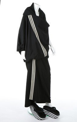 A Yohji Yamamoto black gabardine 'Adidas' striped