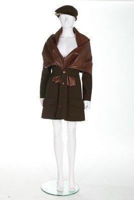 A Yohji Yamamoto olive green wool jacket with integral