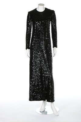 A Lanvin black sequined evening gown, late 1960s, large