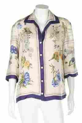 An Hermes printed silk blouse, the 'Quai aux Fleurs'