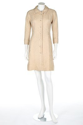 A Balenciaga couture beige brocatelle tunic style