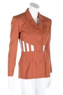 A Jean Paul Gaultier cinnamon cotton 'cage' jacket,