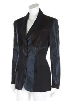 A Jean Paul Gaultier dark blue silk and wool reversible