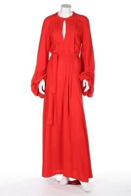 An Ossie Clark 'Come Fly With Me' red moss crepe