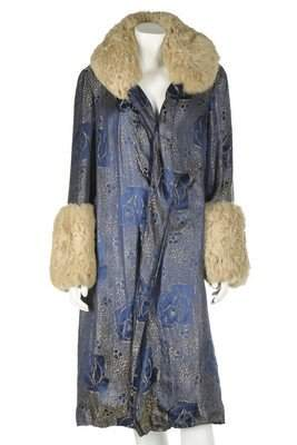 A brocaded lamé evening coat, late 1920s, with fur