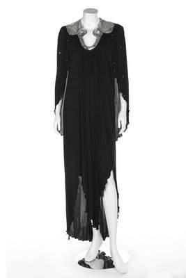 An Ossie Clark black jersey evening gown, circa 1980,