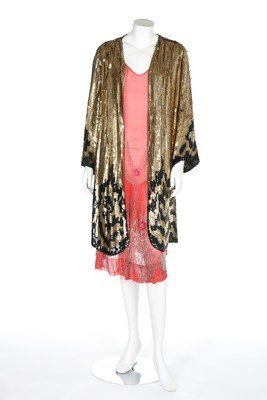 A gold and black sequinned evening coat, 1920s, chest