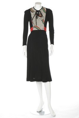 A Radley black moss crepe dress, 1970s, labelled, with