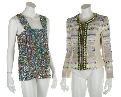 A group of colourful designer clothing, 6 pieces