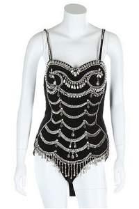 A black velveteen 'Tiller Girl' costume, from George &