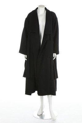 A Yohji Yamamoto black wool coat, late 1980s or early