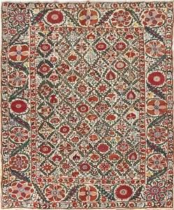 A fine embroidered suzani, Bokharan,
