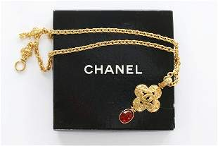 A Chanel gilt metal pendant necklace, 1996, signed and