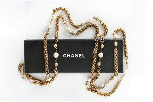 A Chanel sautoir, 1980s, with Chanel plaque, the