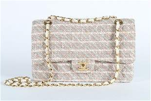 A Chanel tweed double flap bag, 2003, stamped to