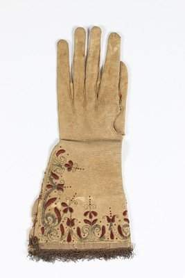 A single buff leather glove, traditionally believed to