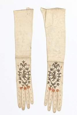 A pair of women's gloves, circa 1680-90, of white kid,