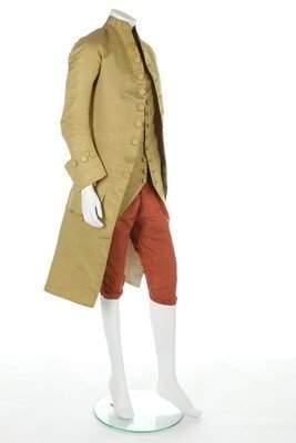 A man's cannelé silk ensemble, circa 1780-90, the