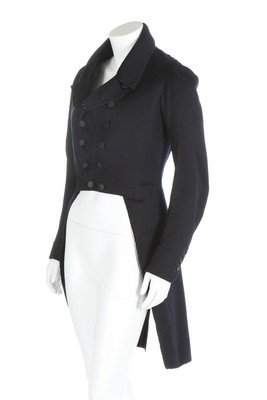A gentleman's tailcoat, 1830-40, of navy facecloth,