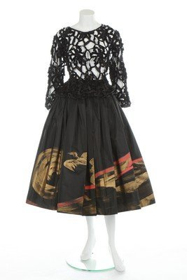 A Comme des Garçons painted black silk skirt and lace