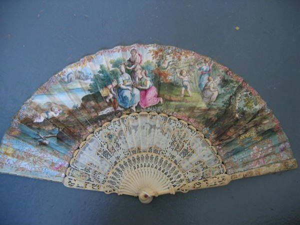 13: A painted fan, circa 1750, the chicken skin leaf pa