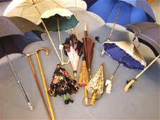 41 A group of parasols and walking sticks circa 1890