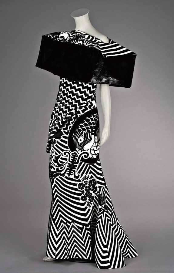 160: A John Galliano for Dior black and white evening g