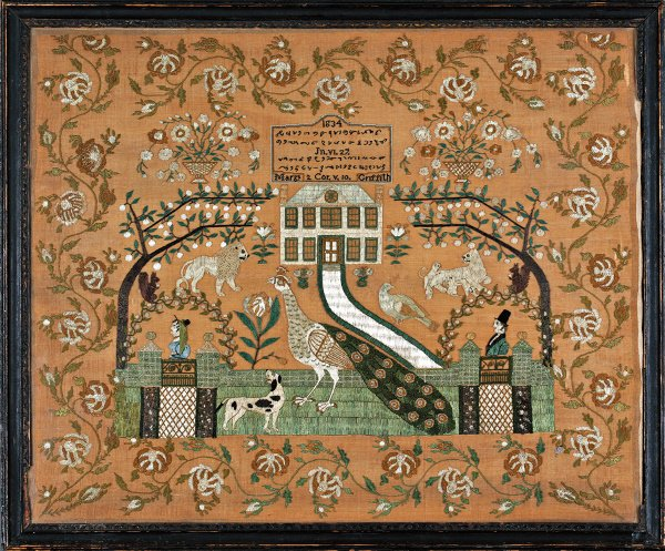 257: A fine and rare embroidered 'shorthand' sampler by