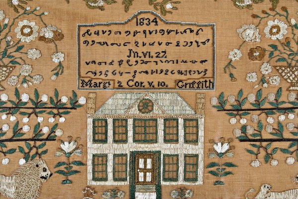 257: A fine and rare embroidered 'shorthand' sampler by - 2