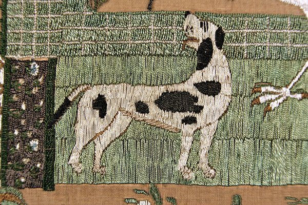 257: A fine and rare embroidered 'shorthand' sampler by - 5
