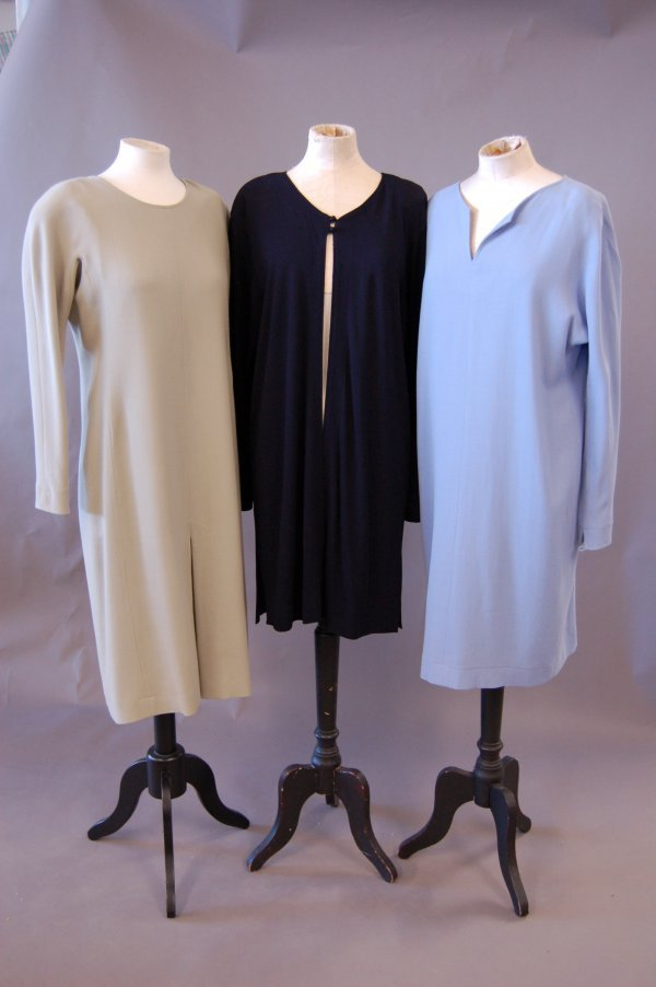 1013: Two Jean Muir moss crêpe wool simple dresses and
