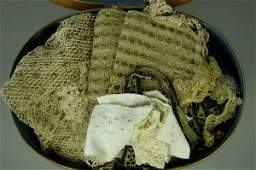 1188: An interesting group of fabrics, lace, beadwork a