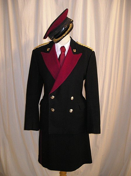 2008: Brass band uniforms, 1970s, navy wool with red re