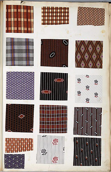 134: Book of printed cottons, 1863-68, approx. 29 pages