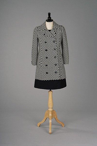 356: An Yves Saint-Laurent navy wool mini dress with ma