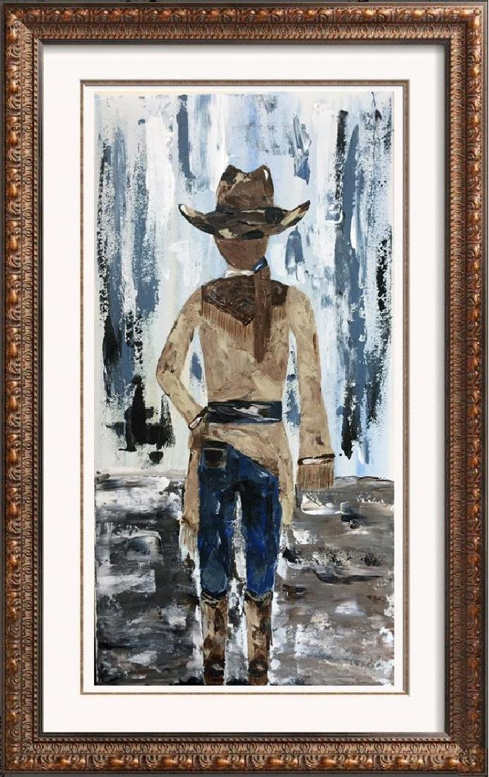 Cowgirl Textured Original Painting Acrylic Palette