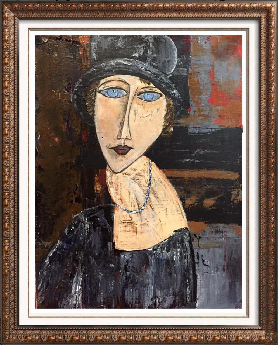 Hat & Necklace Original Painting Janier Signed Canvas
