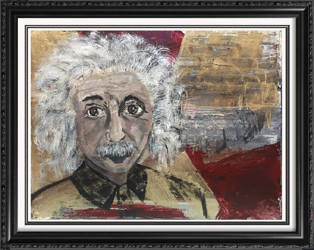 Einstein Original Art Canvas Textured Acrylic Painting