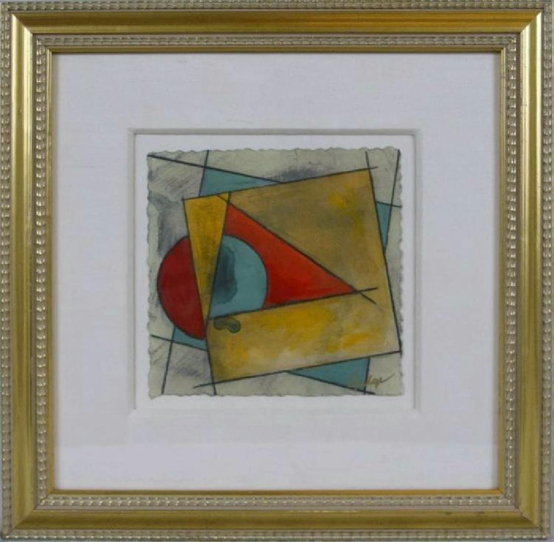 Framed Abstract Original Geometric Art Signed Rare