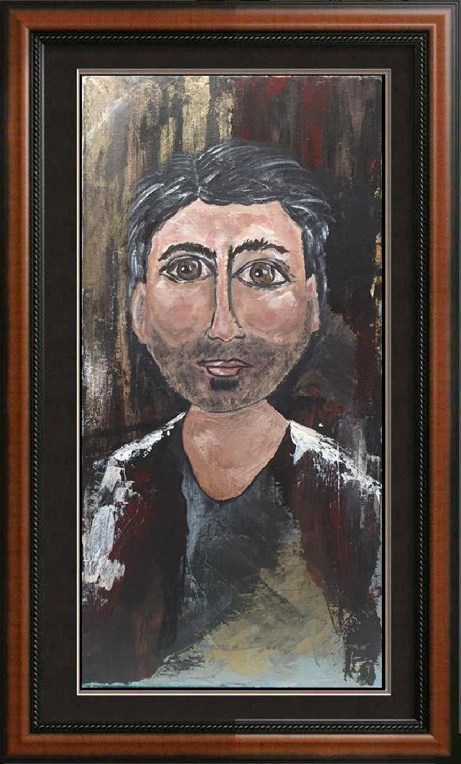Poker Face Male Original Painting on Canvas Janier