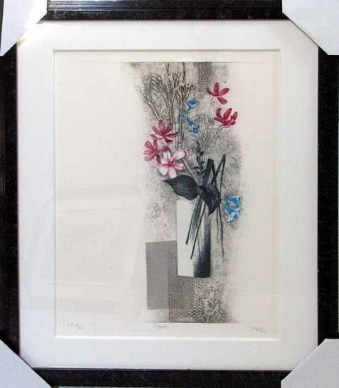 1226E: Kravjansky Japanese Style Floral Custom Framed